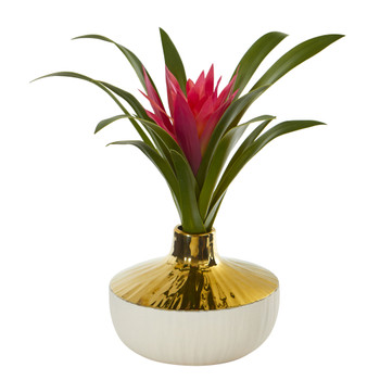 13 Ginger Artificial Plant in Gold and Cream Elegant Vase - SKU #8952
