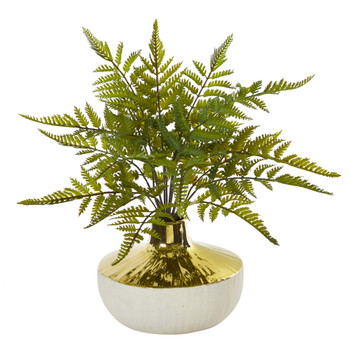 14 Fern Artificial Plant in Gold and Cream Elegant Vase - SKU #8953