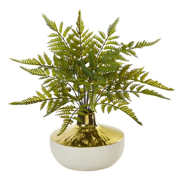 14 Fern Artificial Plant in Gold and Cream Elegant Vase - SKU #8953