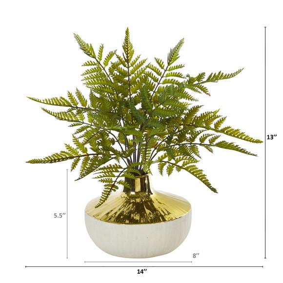14 Fern Artificial Plant in Gold and Cream Elegant Vase - SKU #8953 - 1