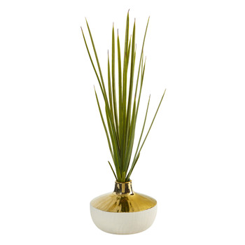23 Spiky Succulent Artificial Plant in Gold and Cream Elegant Vase - SKU #8955