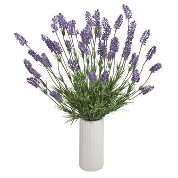 21 Lavender Artificial Plant in White Planter - SKU #8959