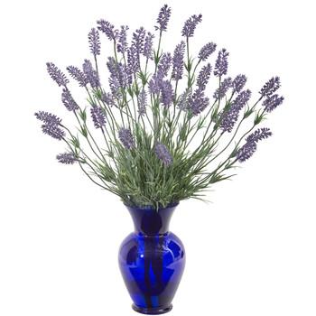 21 Lavender Artificial Plant in Blue Vase - SKU #8961