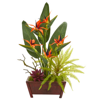 28 Bird of Paradise Succulent and Fern Artificial Plant in Decorative Planter - SKU #8967