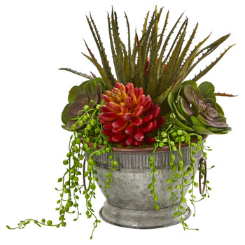13 Mixed Succulent Artificial Plant in Vintage Metal Bowl - SKU #8971
