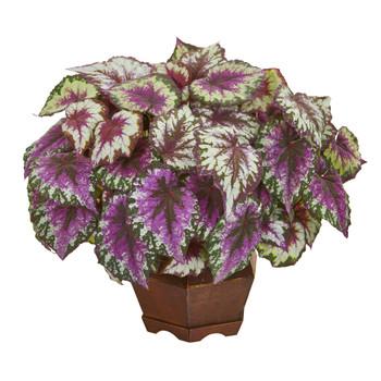 19 Wax Begonia Artificial Plant in Decorative Planter - SKU #8972