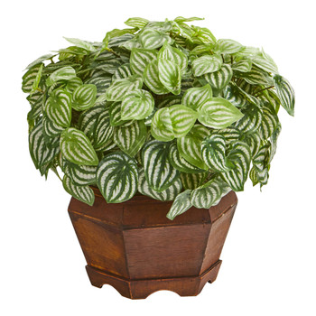 16 Watermelon Peperomia Artificial Plant in Decorative Planter Real Touch - SKU #8974