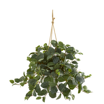 28 Fittonia Artificial Plant in Hanging Metal Bucket - SKU #8978