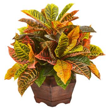 19 Garden Croton Artificial Plant in Decorative Planter Real Touch - SKU #8982