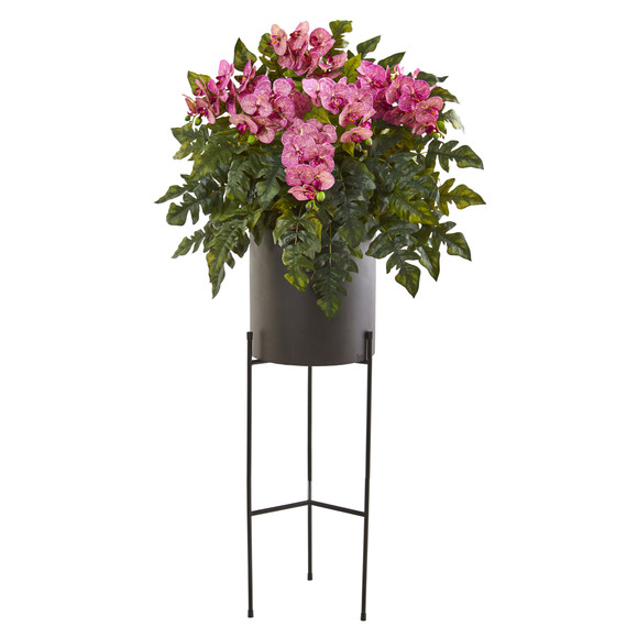 55 Phalaenopsis Orchid and Holly Fern Artificial Plant in Stand Black Planter - SKU #8984 - 4