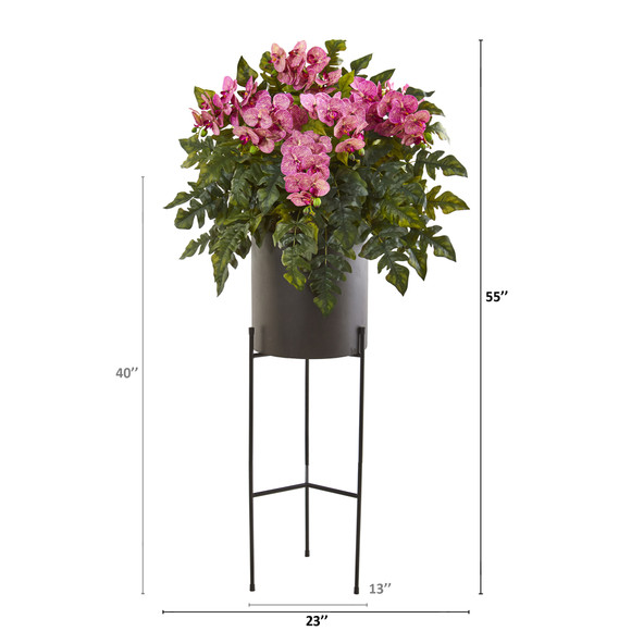 55 Phalaenopsis Orchid and Holly Fern Artificial Plant in Stand Black Planter - SKU #8984 - 5