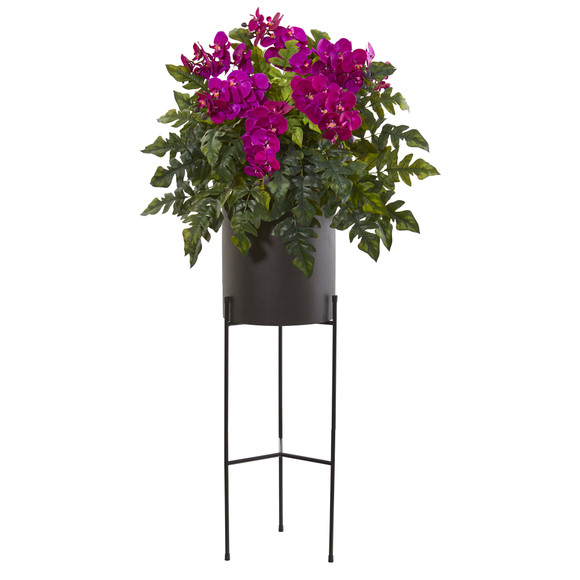 55 Phalaenopsis Orchid and Holly Fern Artificial Plant in Stand Black Planter - SKU #8984 - 2