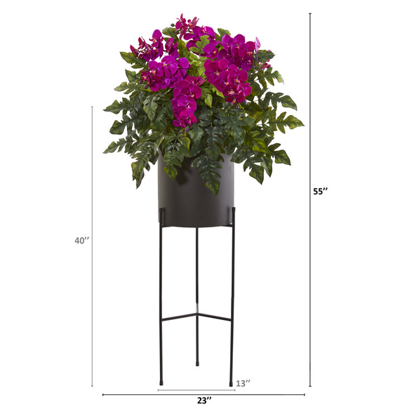 55 Phalaenopsis Orchid and Holly Fern Artificial Plant in Stand Black Planter - SKU #8984 - 3