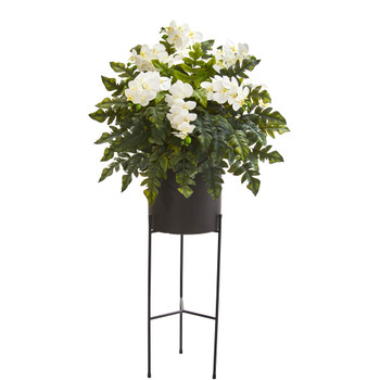 55 Phalaenopsis Orchid and Holly Fern Artificial Plant in Stand Black Planter - SKU #8984
