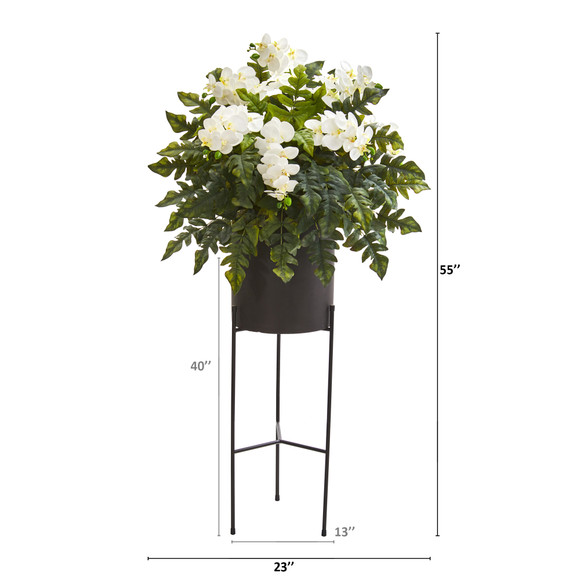 55 Phalaenopsis Orchid and Holly Fern Artificial Plant in Stand Black Planter - SKU #8984 - 1