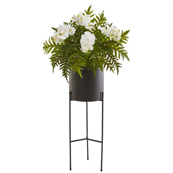 52 Phalaenopsis Orchid and Hares Foot Fern Artificial Plant in Stand Black Planter - SKU #8985