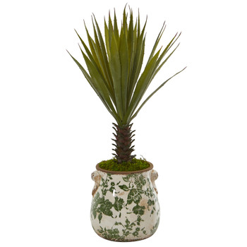 21 Spiky Agave Artificial Plant in Floral Planter - SKU #8988