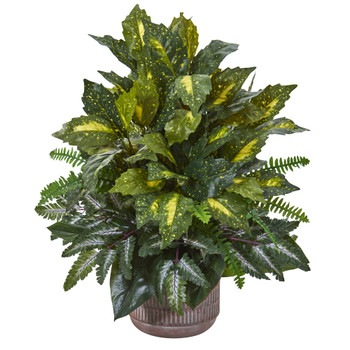 26 Mixed Greens Artificial Plant in Stoneware Planter - SKU #8989