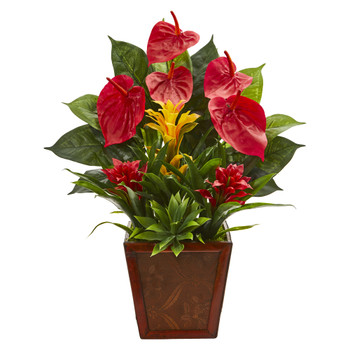 24 Anthurium Bromeliad and Succulent Artificial Plant in Decorative Planter - SKU #8991