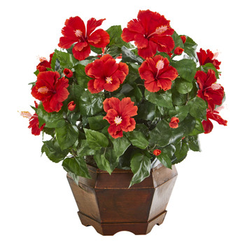 21 Hibiscus Artificial Plant in Decorative Planter - SKU #8992