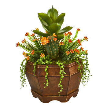 16 Succulent Garden Artificial Plant in Decorative Planter - SKU #8993