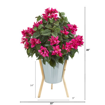 28 Bougainvillea Artificial Plant in Green Planter with Legs - SKU #8994