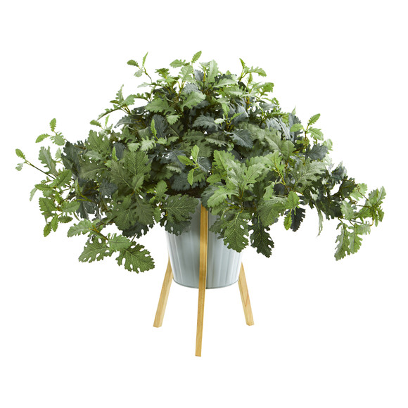 24 Dusty Miller Artificial Plant in Green Planter with Legs - SKU #8995