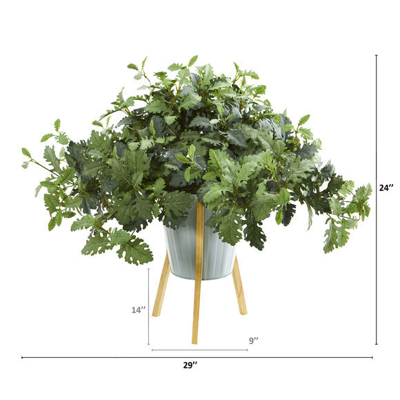 24 Dusty Miller Artificial Plant in Green Planter with Legs - SKU #8995 - 1