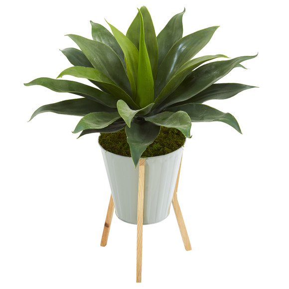 28 Large Agave Artificial Plant in Green Planter with Legs - SKU #8997