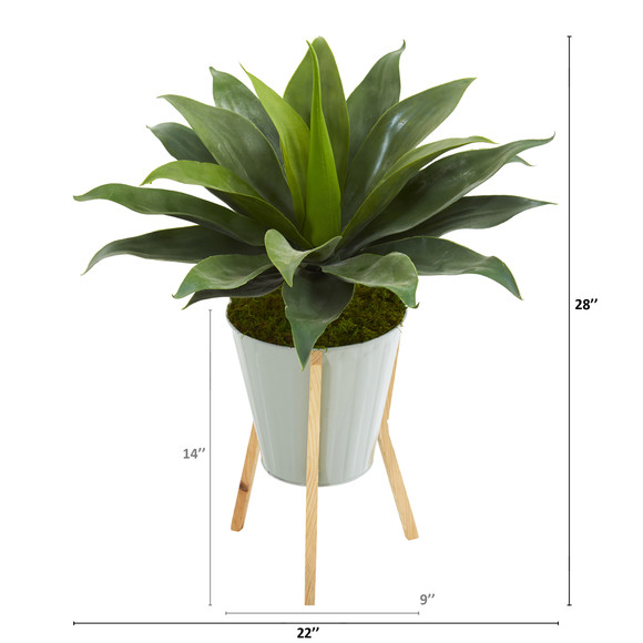 28 Large Agave Artificial Plant in Green Planter with Legs - SKU #8997 - 2