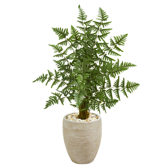Ruffle Fern Palm Artificial Tree in Sand Colored Planter - SKU #9051