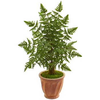 Ruffle Fern Palm Artificial Tree in Terra Cotta Planter - SKU #9052