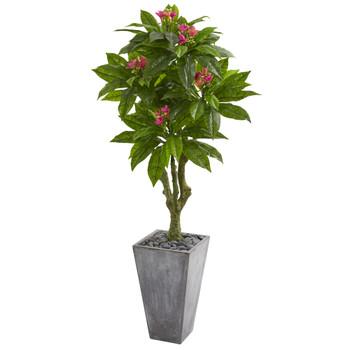 5.5 Plumeria Artificial Tree in Gray Planter UV Resistant Indoor/Outdoor - SKU #9053
