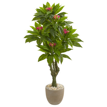 5 Plumeria Artificial Tree in Decorative Planter UV Resistant Indoor/Outdoor - SKU #9054