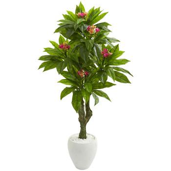 5.5 Plumeria Artificial Tree in White Planter UV Resistant Indoor/Outdoor - SKU #9055