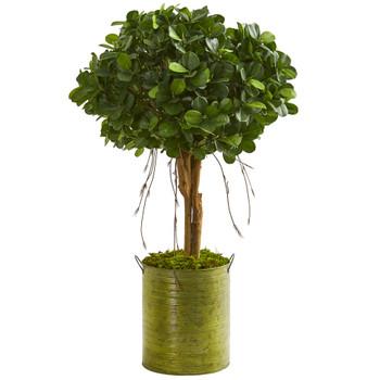 3 Ficus Artificial Tree in Green Metal Planter - SKU #9062