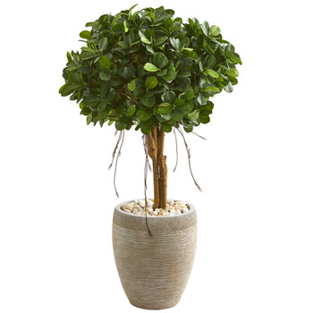 39 Ficus Artificial Tree in Sand Colored Planter - SKU #9063