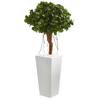 45 Ficus Artificial Tree in White Tower Planter - SKU #9067