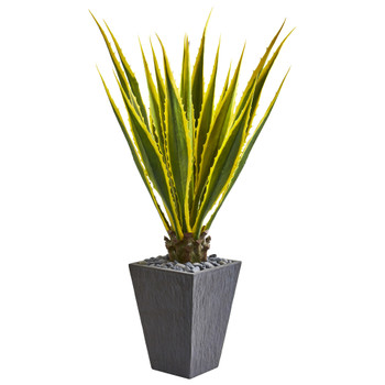 4.5 Agave Artificial Plant in Slate Planter - SKU #9068