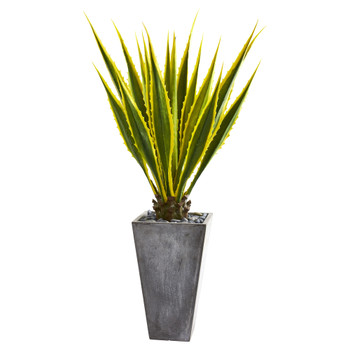 5 Agave Artificial Plant in Gray Planter - SKU #9069