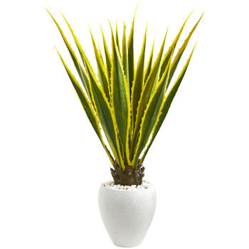 4 Agave Artificial Plant in White Planter - SKU #9071