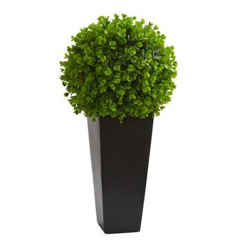 23 Eucalyptus Artificial Ball in Black Tower Planter - SKU #9085