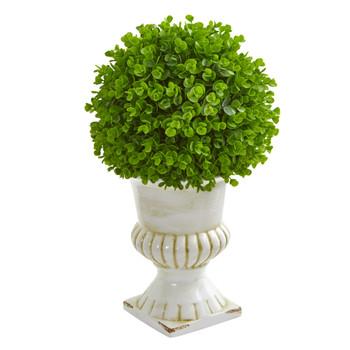 20 Eucalyptus Artificial Ball Topiary in White Ceramic Urn - SKU #9086
