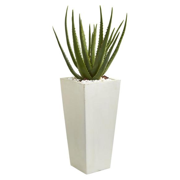29 Aloe Artificial Plant in White Planter - SKU #9097
