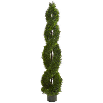 7.5 Double Pond Cypress Spiral Topiary Artificial Tree UV Resistant Indoor/Outdoor - SKU #9154