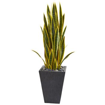 3.5 Sansevieria Artificial Plant in Slate Planter - SKU #9182