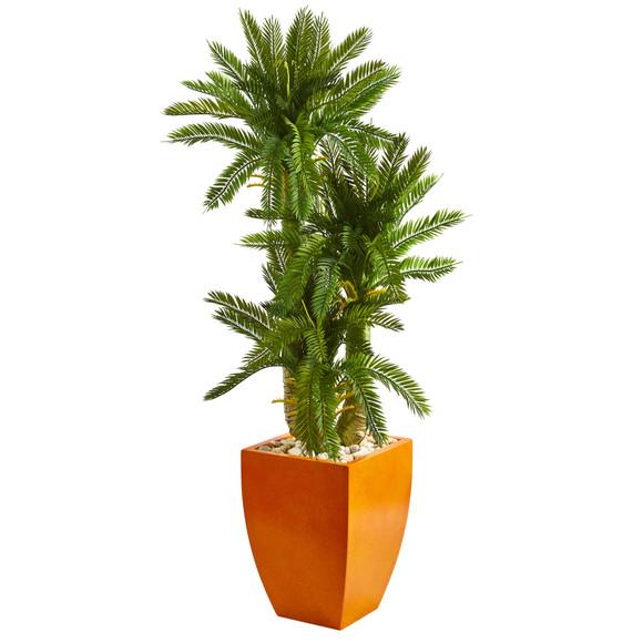 4.5 Triple Cycas Artificial Plant in Orange Planter - SKU #9195