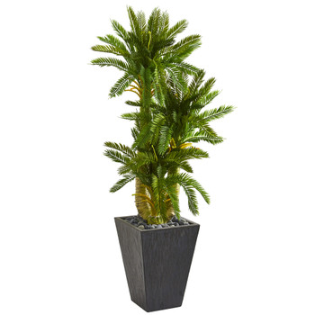 4.5 Triple Cycas Artificial Plant in Slate Planter - SKU #9196