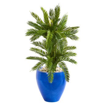 3 Double Cycas Artificial Plant in Blue Planter - SKU #9200