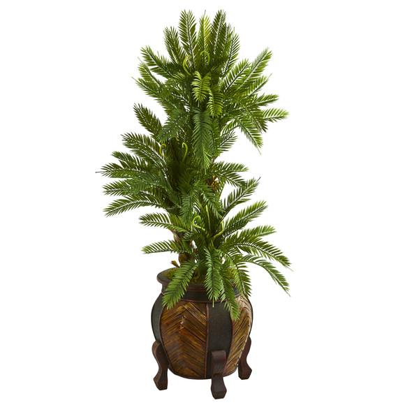 4 Triple Cycas Artificial Plant in Decorative Planter - SKU #9206